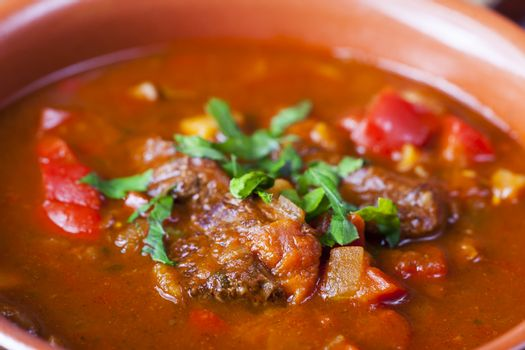 closeup of hungarian goulash stew