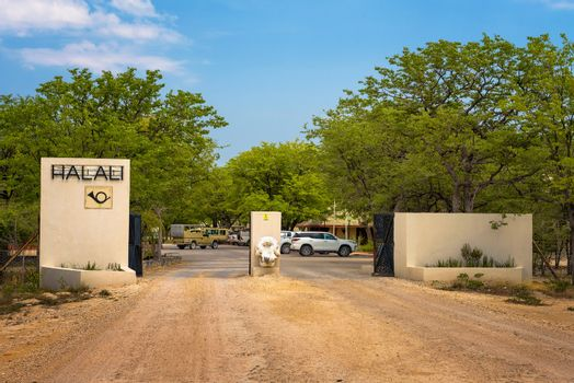 Entry gate of the Halali resort and campsite in Etosha National Park