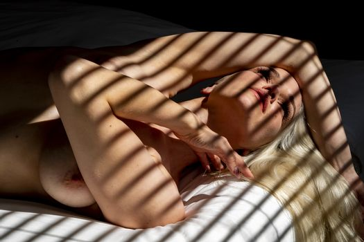 A gorgeous blonde model poses nude in a home environment