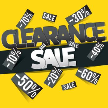 Clearance sale banner, flyer or poster