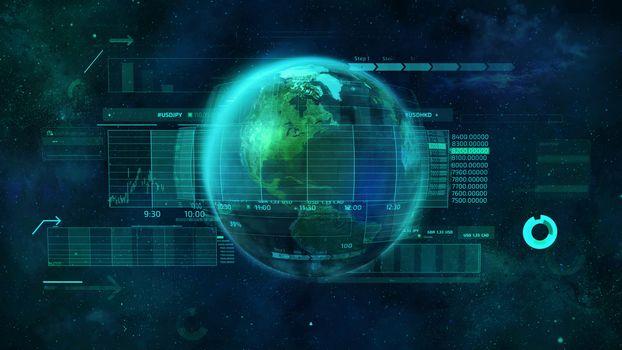 Illustration on the subject of digital economy of the world.