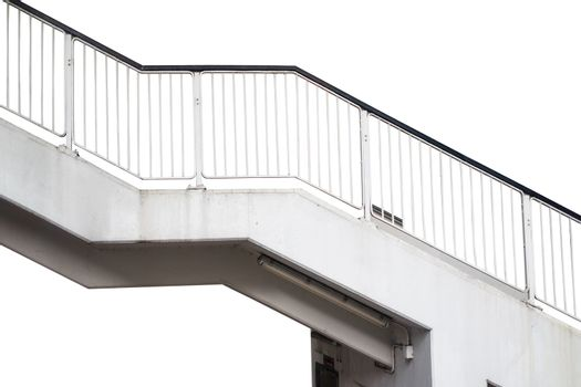 Stairway Stainless steel railing isolated on white, with clipping path.