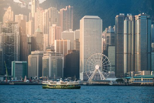 Hong Kong's Victoria Harbour in sunrise