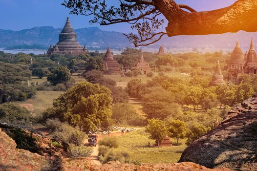 View of Pagodas on Hilltop in Bagan in Myanmar