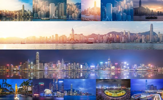 Panoramic views of Victoria Harbour from day to night