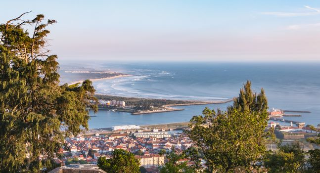 Aerial view of the famous city Viana do Castelo in northern Portugal on a spring day