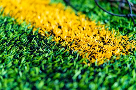 Yellow Boundary Line of an indoor football soccer training field