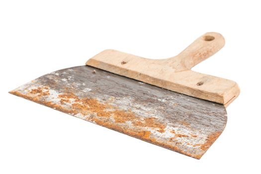 rusty spatula to coat on white background in studio