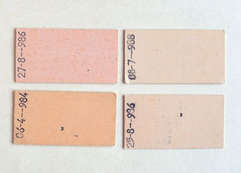 vintage paper train ticket from year 1982