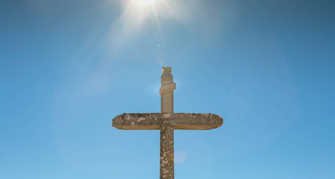 backlit cross with INRI inscription in portugal
