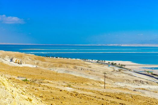 Salt evaporation ponds in the Dead Sea