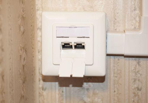 dual LAN RJ45 socket, wall mounted