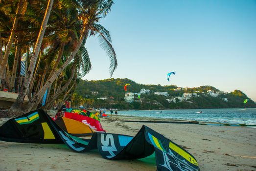 BORACAY ISLAND, PHILIPPINES - FEBRUARY 2017: The beach where people skate kitesurfing. Palm trees develop on a wind. Boracay island, Bulabog beach, Philippines.