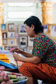 Thai buddhism pray for benefaction worship