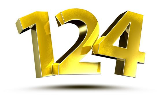 3D illustration Numbers 124 Gold isolated on a white background.(with Clipping Path)