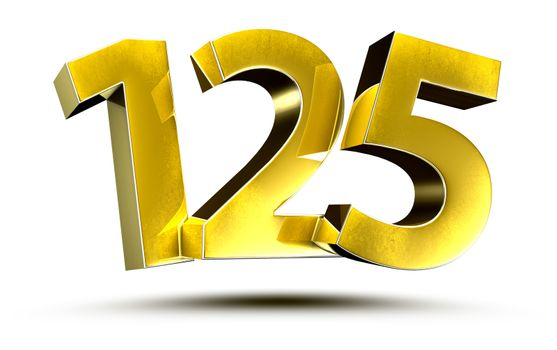 3D illustration Numbers 125 Gold isolated on a white background.(with Clipping Path)