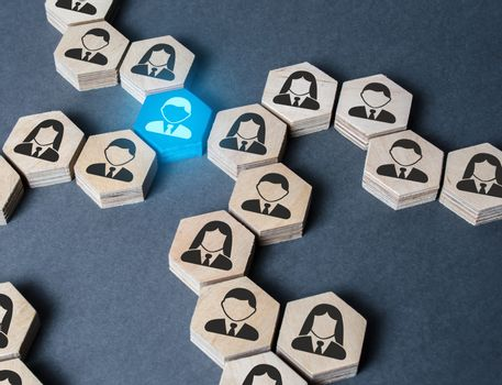 The structure of hexagonal figures with employees is connected together through a blue figure. Establishing contact between business, mediator services. Leader, link. Business organization.