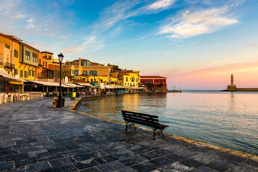 Picturesque old port of Chania. Landmarks of Crete island. Greece. Bay of Chania at sunny summer day, Crete Greece. View of the old port of Chania, Crete, Greece. The port of chania, or Hania.