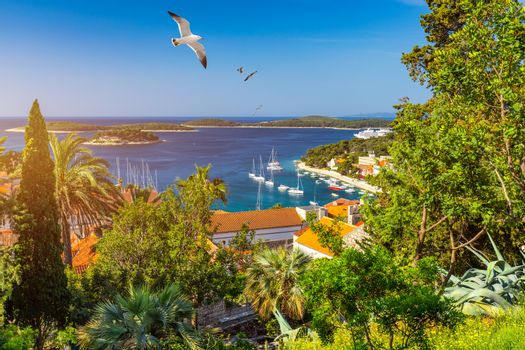 View at amazing archipelago in front of town Hvar, Croatia with seagull's flying over the city. Harbor of old Adriatic island town Hvar. Amazing Hvar city on Hvar island, Croatia.
