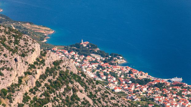 View on mountains and sea from Vidova Gora on Brac island. View