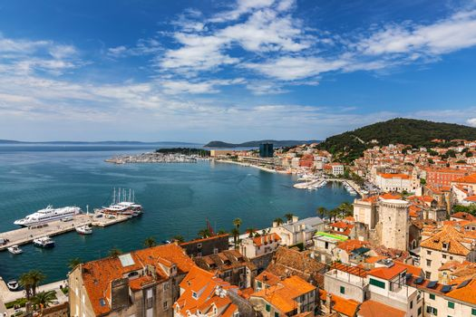 Split waterfront and Marjan hill aerial view, Dalmatia, Croatia. UNESCO World Heritage Site. Split panoramic view of town, Dalmatia, Croatia.