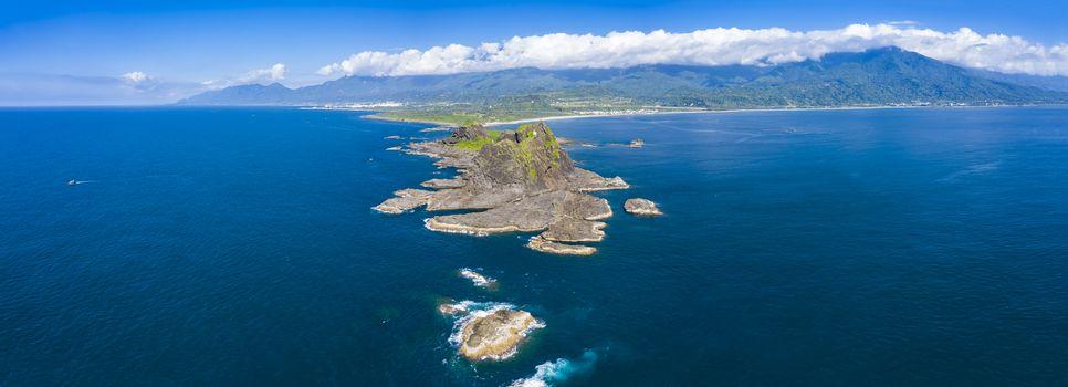Aerial view Sanxiantai Recreation Area. Famous Park in Eastern Taiwan