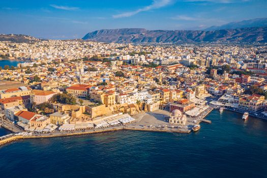 Panoramic aerial view from above of the city of Chania, Crete island, Greece. Landmarks of Greece, beautiful venetian town Chania in Crete island. Chania, Crete, Greece.