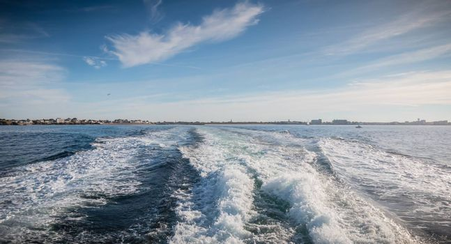 view of water jet seen behind the speed boat