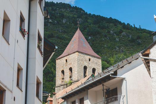 architectural detail of Bielsa Church, Spain