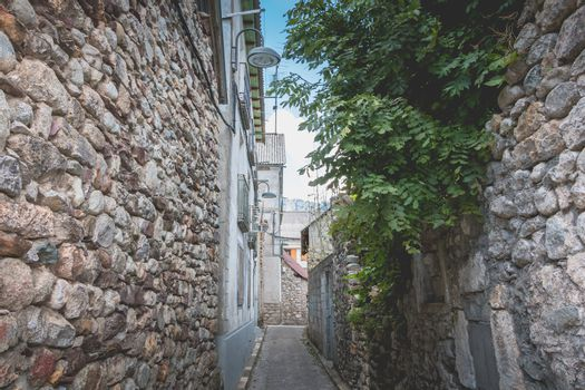 bielsa, spain - August 21, 2018: typical house architecture detail of this town where people walk on a summer day