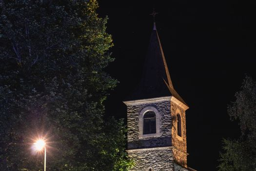 architectural detail of the Sainte Marie chapel at night in Saint Lary Soulan in France
