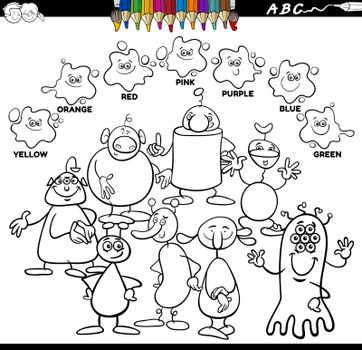 Black and White Educational Cartoon Illustration of Basic Colors with Aliens or Fantasy Characters Group Coloring Book Page