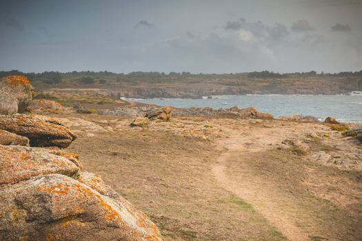 famous hiking trail GR80 on the island of yeu in France