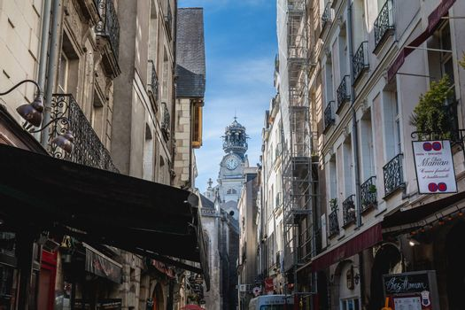 Nantes, France - September 25, 2018: detail of architecture and street atmosphere in the streets of the historic city center on a summer day