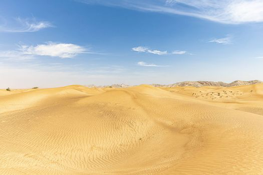Sand Dunes landscape with Mountains in the background and with blue sky with large copy space