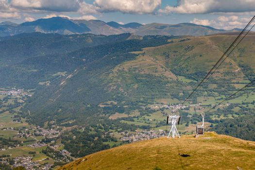 grey cable car that goes up the mountain in the Pyrenees