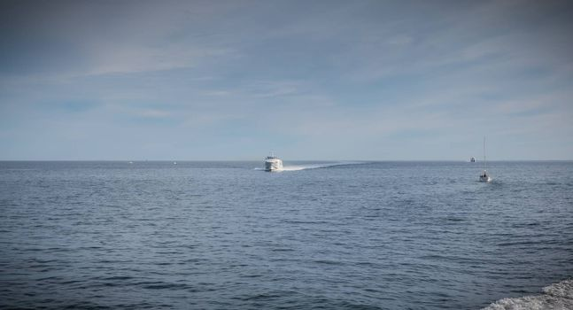 Ferry in the middle of the ocean that will enter the port of Ile d'Yeu