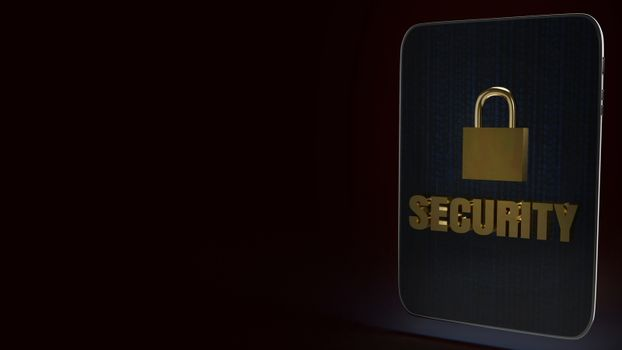 security text  and master key on tablet 3d rendering image.