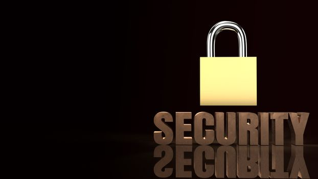 security text  and master key 3d rendering image.