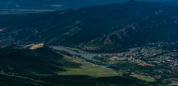 View to the old capital city of Georgian Kingdom - Mtskheta, close to Tbilisi, with  Djvari monastery and old town