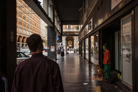 BOLOGNA, ITALY 17 JUNE 2020: People walking on Bologna