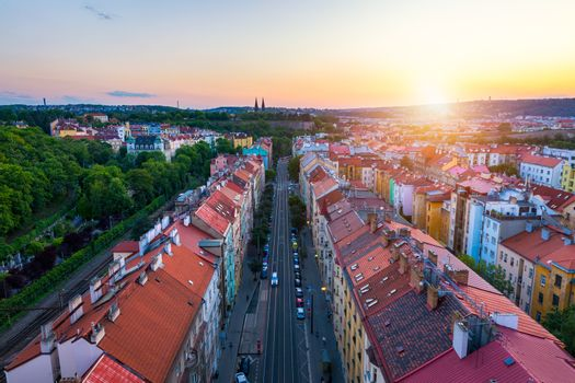 Prague, Czech Republic. Old townscape seen from Nuselsky Most (N