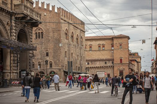 BOLOGNA, ITALY 17 JUNE 2020: People in Bologna walking on city center