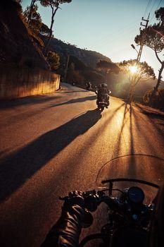 Bikers on Sunset Ride