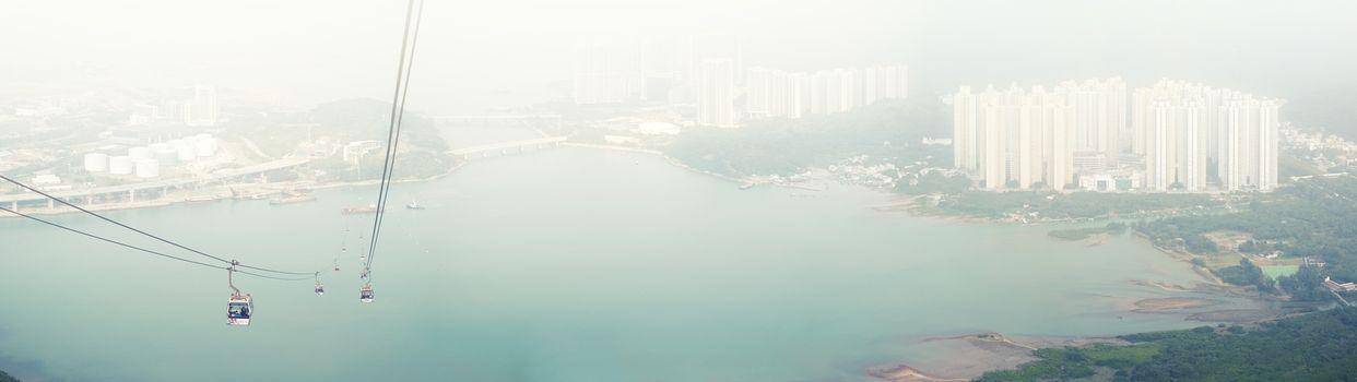 Panorama Cable car in fog ,from Hong Kong Ocean Park