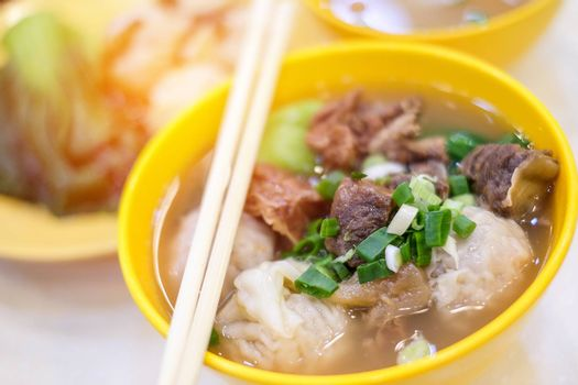 Pork soup and dumpling close up in Hong Kong