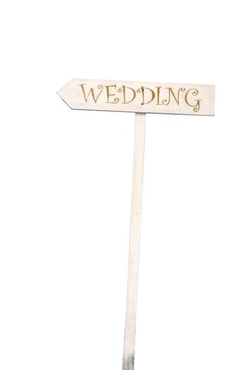 """Wood board with the word """"Wedding"""" on white isolate"""