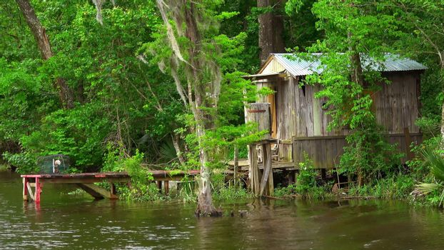 Wooden hut in the swamps