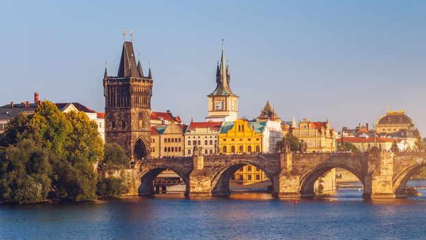 View from the Charles bridge to Smetana museum on the right bank