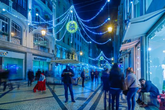 Augusta street with Christmas decorations, in Lisbon